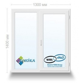 Окно металлопластиковое двухстворчатое WHS60 с 2х кам. энергосберегающим стеклопакетом 1300x1400 мм