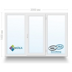 Окно металлопластиковое трехстворчатое Оконика WHS 60 с энергосберегающим стеклопакетом 2000x1400 мм