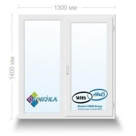 Окно металлопластиковое двухстворчатое WHS 72 с 2х кам. энергосберегающим стеклопакетом 1300x1400 мм