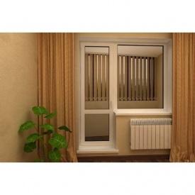 Балконный блок трехкамерный металлопрофиль WDS Classic дверь 700х2000 мм+окно 1100х1200 мм