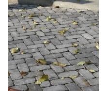 Тротуарна плитка Золотий Мандарин Цегла Антик 240х160х90 мм повний прокрас сірий