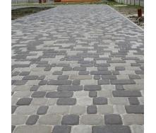 Тротуарна плитка Золотий Мандарин Старе місто 120х40 мм на сірому цементі чорний