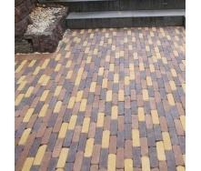 Тротуарная плитка Золотой Мандарин Барселона Антик 192х45х60 мм бордовый на сером цементе
