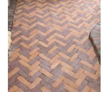 Тротуарная плитка Золотой Мандарин Барселона Антик 192х60х45 мм персиковый на сером цементе