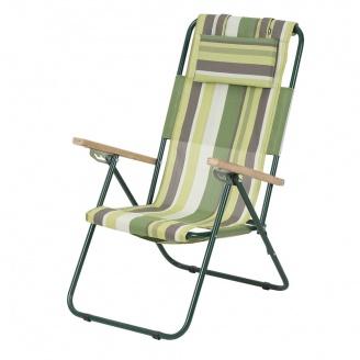 Кресло-шезлонг Ясень 20 мм текстилен зеленая полоса Витан