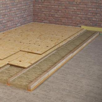 Звукоізоляційний підлогу по лагах із застосуванням вати Шуманет Еко і Sylomer 400 мм