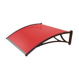 Козырек TanDem 1500х930х280 мм коричневый с сотовым поликарбонатом 4 мм красный