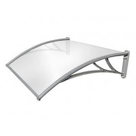 Козырек TanDem 1500х930х280 мм серебристый с монолитным поликарбонатомом 3 мм опал