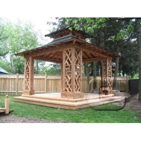Строительство деревянной квадратной беседки Гюмри 3х3х2,2 м