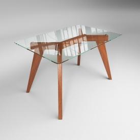 Обідній стіл Леонардо Sentenzo 1200х800х710 мм прозоре скло і дерев'яні ніжки