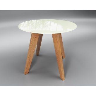 Круглий стіл Sentenzo Leonardo 760х900 мм скляний білий і дерев'яні ніжки