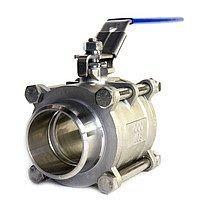 Кран кульовий приварний Lateya трискладовий сталь AISI 316 15 мм