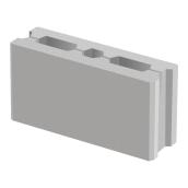 Пустотный заборный блок BERNSTONE бетон 390х190х120 мм серый цемент