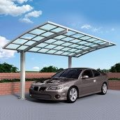 Автомобильный навес из алюминия с монолитным поликарбонатом Oscar CarPort с арочной крышей одиночный