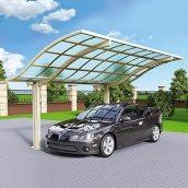 Автомобильный навес из алюминия с монолитным поликарбонатом Oscar CarPort с крышей волна одиночный