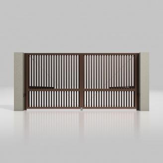 Распашные ворота ALUTECH Prestige 4000х2000 мм привод Ambo разреженный профиот шоколад (RAL 8017)