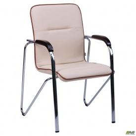 Офисное кресло-стул АМФ Самба Неаполь N-17 с кантом корпус хром 570x680x885 мм орех