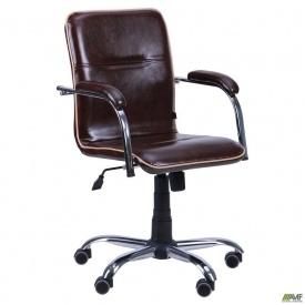 Кресло АМФ Самба-RC Софт Мадрас дарк браун с кантом коричневое