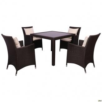 Комплект мебели AMF Samana-4 из ротанга Elit Brown MB1034 ткань A13815