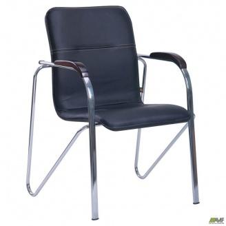Офісний стілець Самба AMF 890х610х560 мм хром чорний кожзам Неаполь N-20