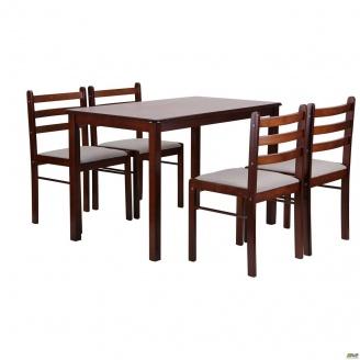 Набор обеденный AMF Брауни светлый шоколад комплект стол 4 стула