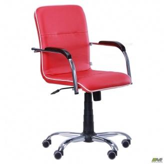 Офісне крісло АМФ Самба-RC 880-1110х640х680 мм Хром горіх червоне з кантом