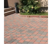 Тротуарная плитка Золотой Мандарин Старый город 120х40 мм на сером цементе красный