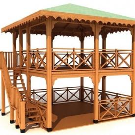 Строительство деревянной двухэтажной беседки под ключ