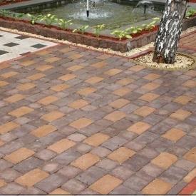 Тротуарна плитка Золотий Мандарин Квадрат Антик 160х160х90 мм повний прокрас коричневий