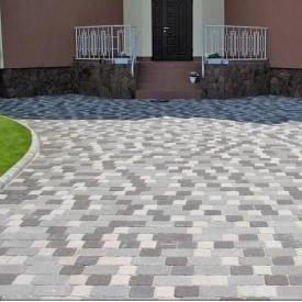 Тротуарна плитка Золотий Мандарин Стара площа 160х40 мм сірий