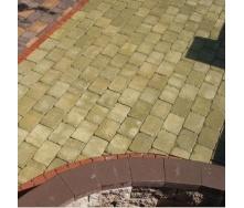 Тротуарна плитка Золотий Мандарин Цегла Антик 240х160х90 мм гірчичний на сірому цементі