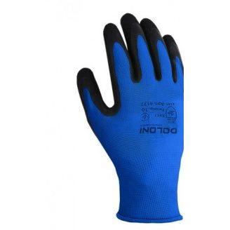 Рукавички трикотажні з латексним покриттям №4177 подвійний облив розмір 10 сині