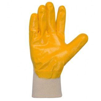Рукавички робочі №4523 манжет в'язаний жовте нітрилове неповне покриття