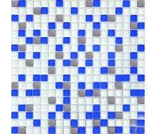 Мозаїка Grand Kerama мікс білий-блакитний-платина 300х300 мм (466)