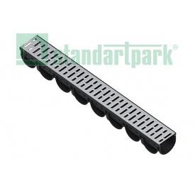 Лоток водоотводный Spark ЛВ-10.14.10-ПП пластик 100х130х1000 мм со стальной решеткой (088201)
