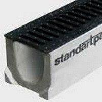 Лоток водоотводный Standard А-С бетон 123х141х1000 мм (4000)