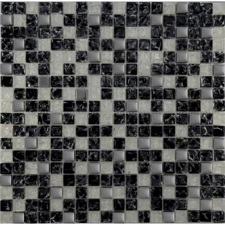 Мозаїка Grand Kerama мікс чорний колотий-білий колотий-платина 300х300 мм (503)