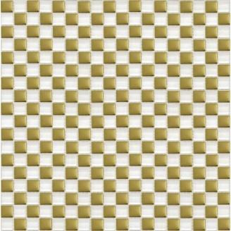 Мозаїка Grand Kerama шахматка білий-золото 300х300 мм (413)
