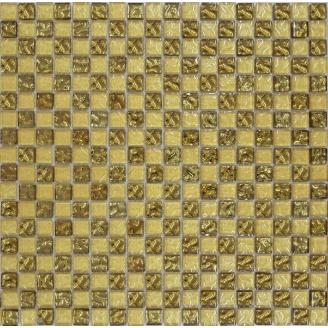 Мозаїка Grand Kerama шахматка рельєфне золото-золотий пісок 300х300 мм (443)