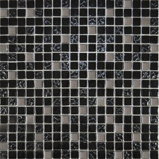 Мозаїка Grand Kerama мікс чорний-чорний рифлений верх-платина 300х300 мм (911)