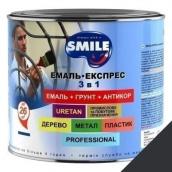 Эмаль Экспресс антикоррозионная 3 в 1 Smile 2,4 кг гладкое покрытие черный RAL 9011