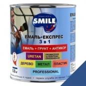Эмаль Экспресс антикоррозионная 3 в 1 Smile 0,8 кг для крыш синий RAL 5005