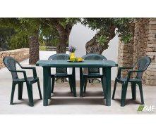 Комплект пластиковой мебели АМФ стол Sorrento + стулья Ischia Green зеленые 4 шт