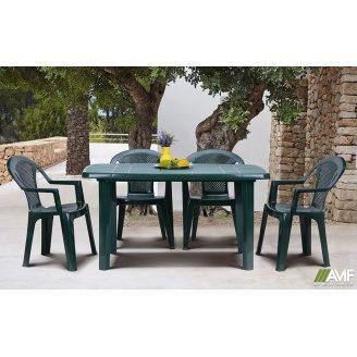 Комплект пластикових меблів АМФ стіл Sorrento + стільці Ischia Green зелені 4 шт