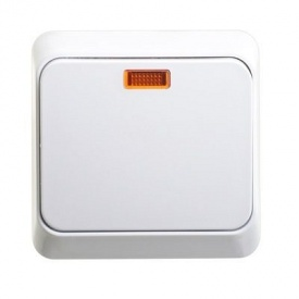 Электрический выключатель 1-клавишный белый с подсветкой