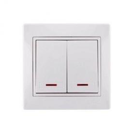 Электрический выключатель 2-клавишный белый с подсветкой