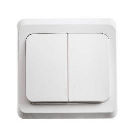 Электрический выключатель 2-клавишный проходной белый