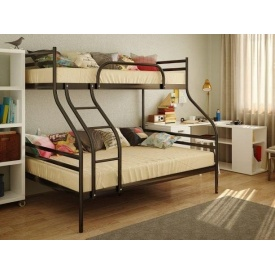 Двоярусна металева 3х-спальне ліжко SMART