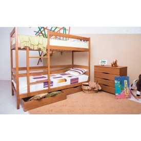 Кровать детская двухъярусная Олимп Амели деревянная с выдвижными ящиками