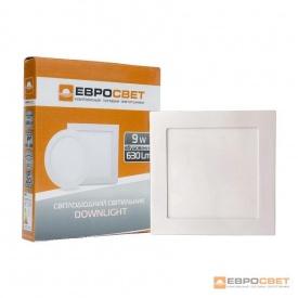 Светильник точечный врезной ЕВРОСВЕТ 9 Вт LED-S-150-9 4200 К квадрат